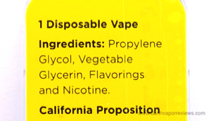 Zaeros Disposable Vape Sampler Pack Ingredients